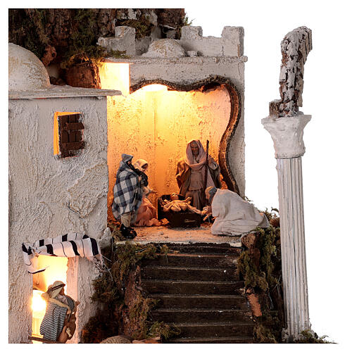 Borgo arabo (B) Natività pastori 8 cm illuminato presepe napoletano 40x35x35 cm 2