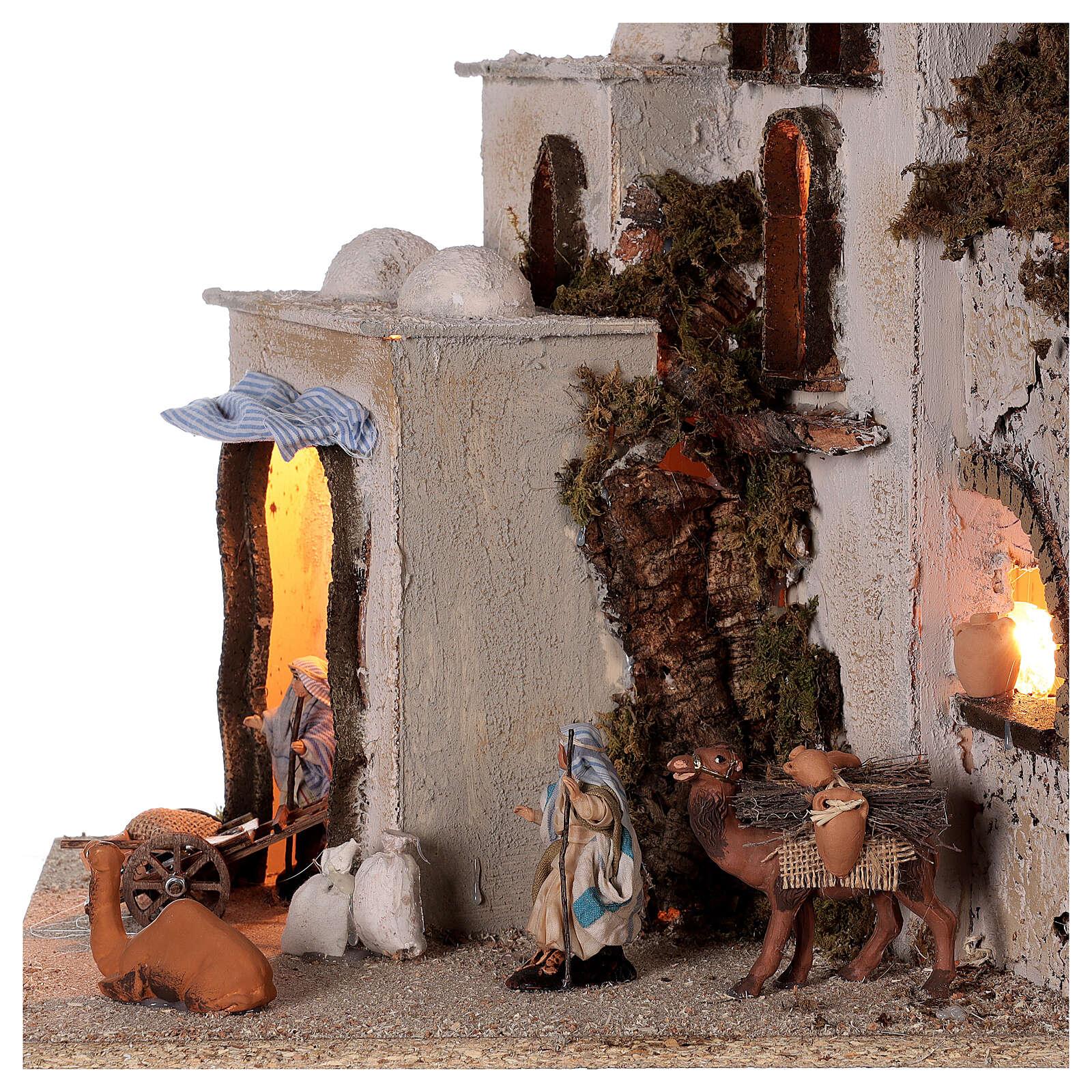 Borgo palestinese (C) statue terracotta 8 cm presepe napoletano 40x35x35 illuminato 4