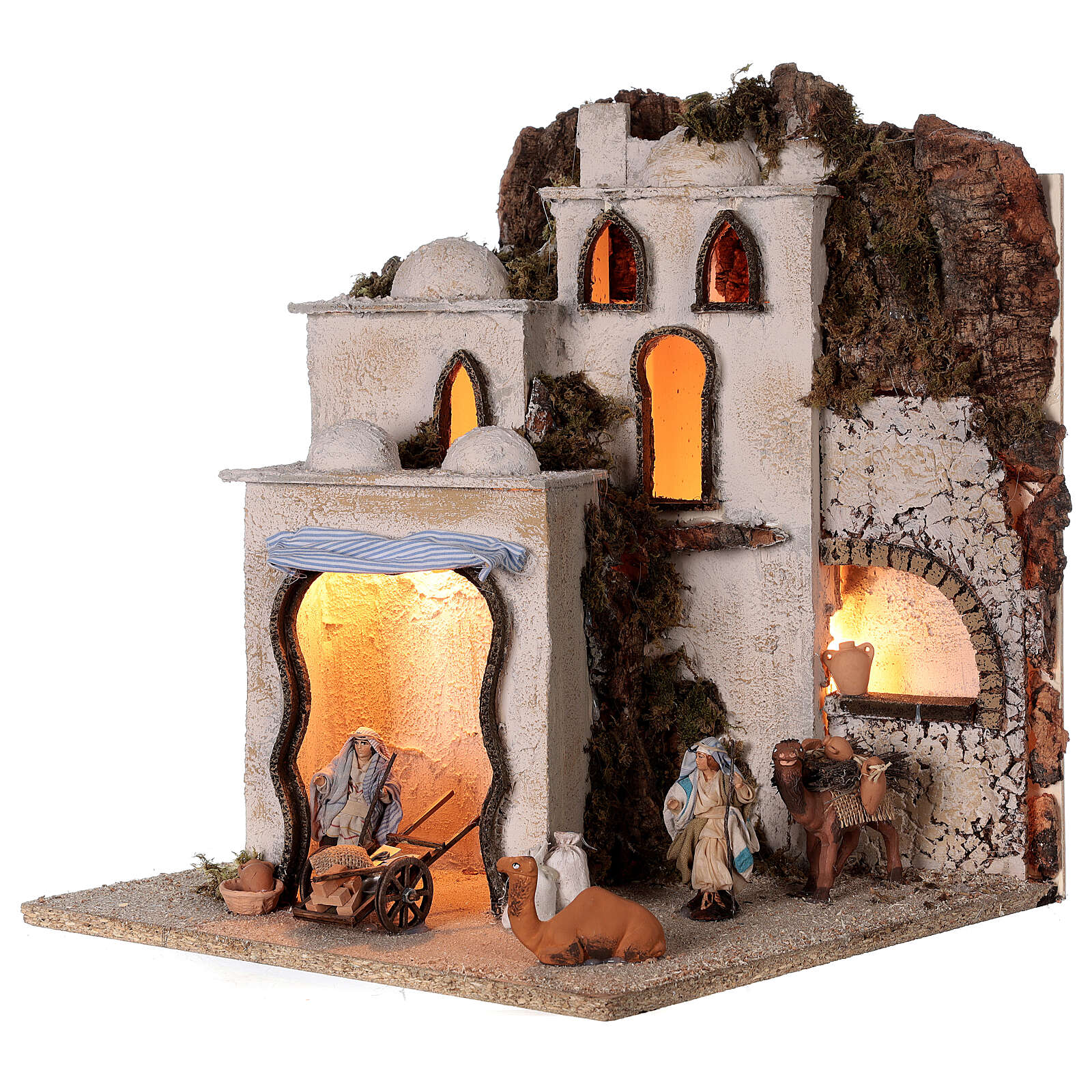 Palestinian village illuminated (C) Neapolitan Nativity Scene with 8 cm figurines 40x35x35 cm 4