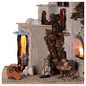 Palestinian village illuminated (C) Neapolitan Nativity Scene with 8 cm figurines 40x35x35 cm s2