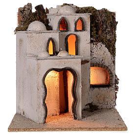 Palestinian village illuminated (C) Neapolitan Nativity Scene with 8 cm figurines 40x35x35 cm s5