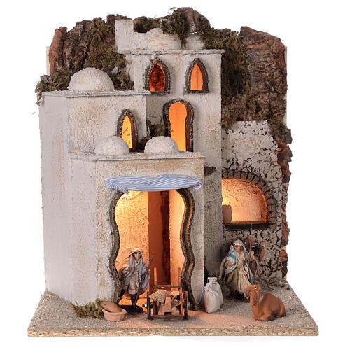 Palestinian village illuminated (C) Neapolitan Nativity Scene with 8 cm figurines 40x35x35 cm 1