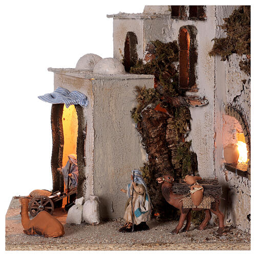 Palestinian village illuminated (C) Neapolitan Nativity Scene with 8 cm figurines 40x35x35 cm 2