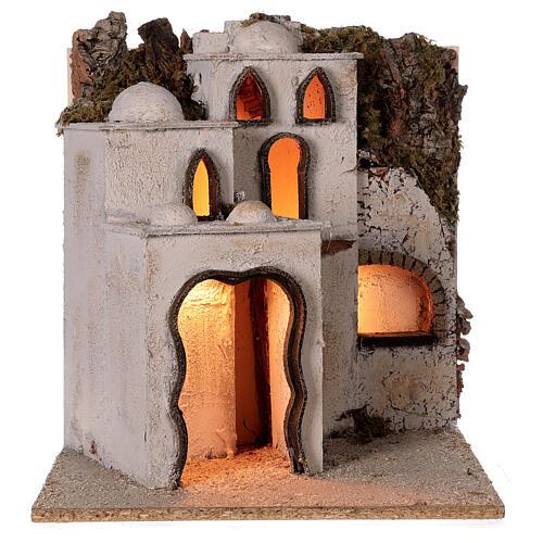 Palestinian village illuminated (C) Neapolitan Nativity Scene with 8 cm figurines 40x35x35 cm 5