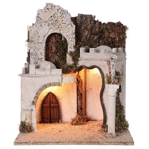 Décor arabe (D) crèche napolitaine 8 cm arcades marché 45x35x35 cm 5