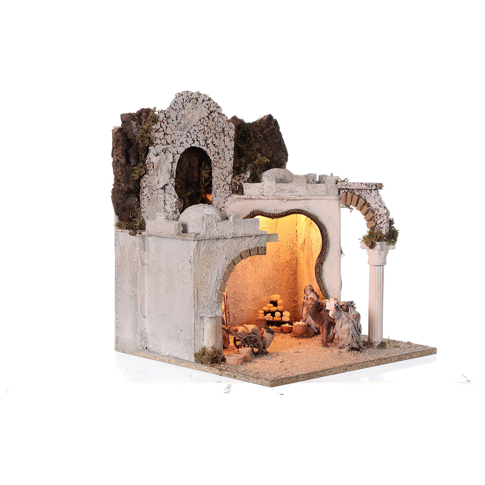Arab setting (D) arches and market for Neapolitan Nativity Scene with 8 cm figurines 45x35x35 cm 4