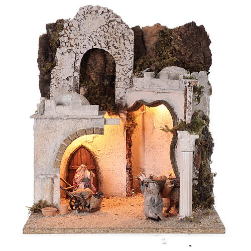 Arab setting (D) arches and market for Neapolitan Nativity Scene with 8 cm figurines 45x35x35 cm 1