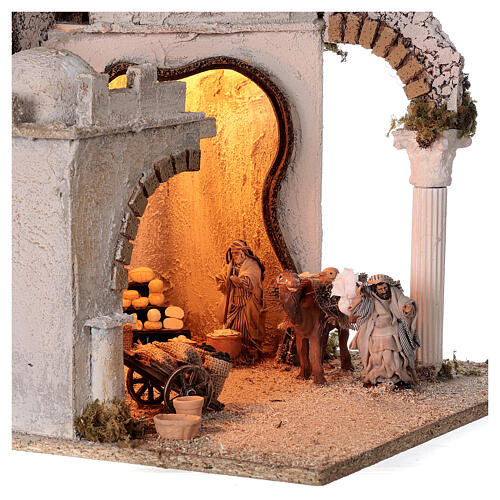 Arab setting (D) arches and market for Neapolitan Nativity Scene with 8 cm figurines 45x35x35 cm 2