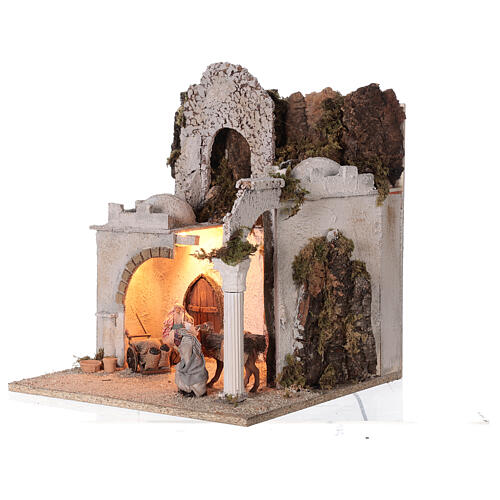 Arab setting (D) arches and market for Neapolitan Nativity Scene with 8 cm figurines 45x35x35 cm 3