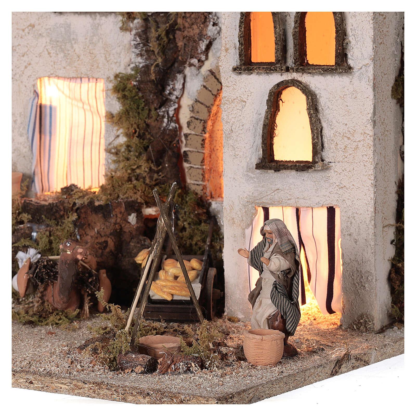 Borgo arabo (E) mercato focolare presepe napoletano statue 8 cm 40x35x35 4
