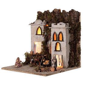 Borgo arabo (E) mercato focolare presepe napoletano statue 8 cm 40x35x35 s3