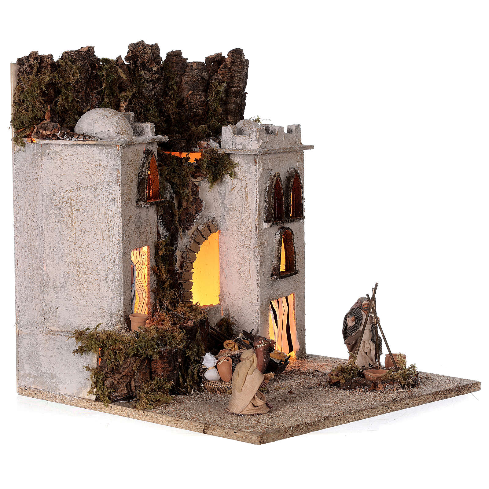 Arab village (E) market firepace Neapolitan Nativity Scene for 8 cm figurines 40x35x35 cm 4