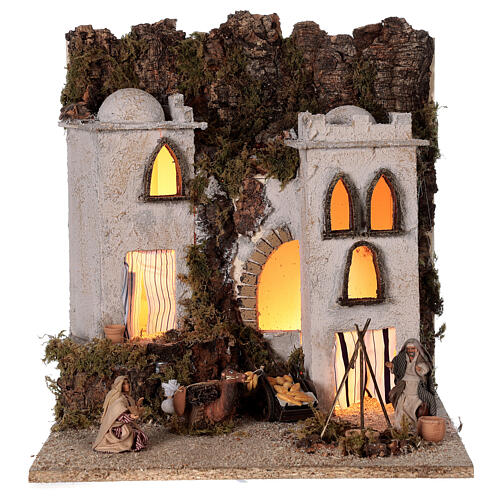 Arab village (E) market firepace Neapolitan Nativity Scene for 8 cm figurines 40x35x35 cm 1