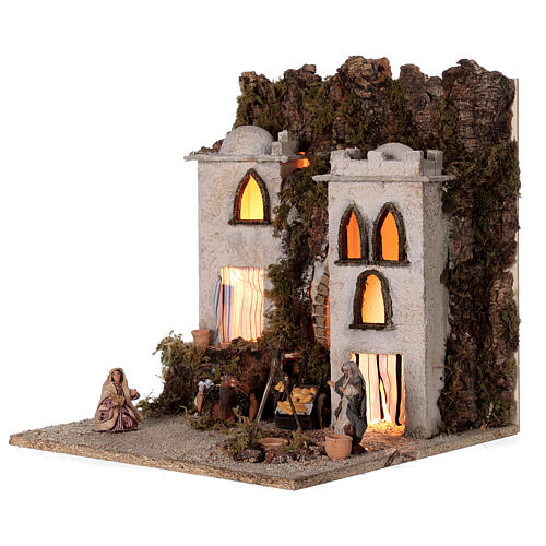Arab village (E) market firepace Neapolitan Nativity Scene for 8 cm figurines 40x35x35 cm 3