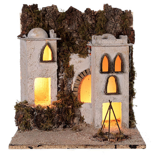 Arab village (E) market firepace Neapolitan Nativity Scene for 8 cm figurines 40x35x35 cm 5