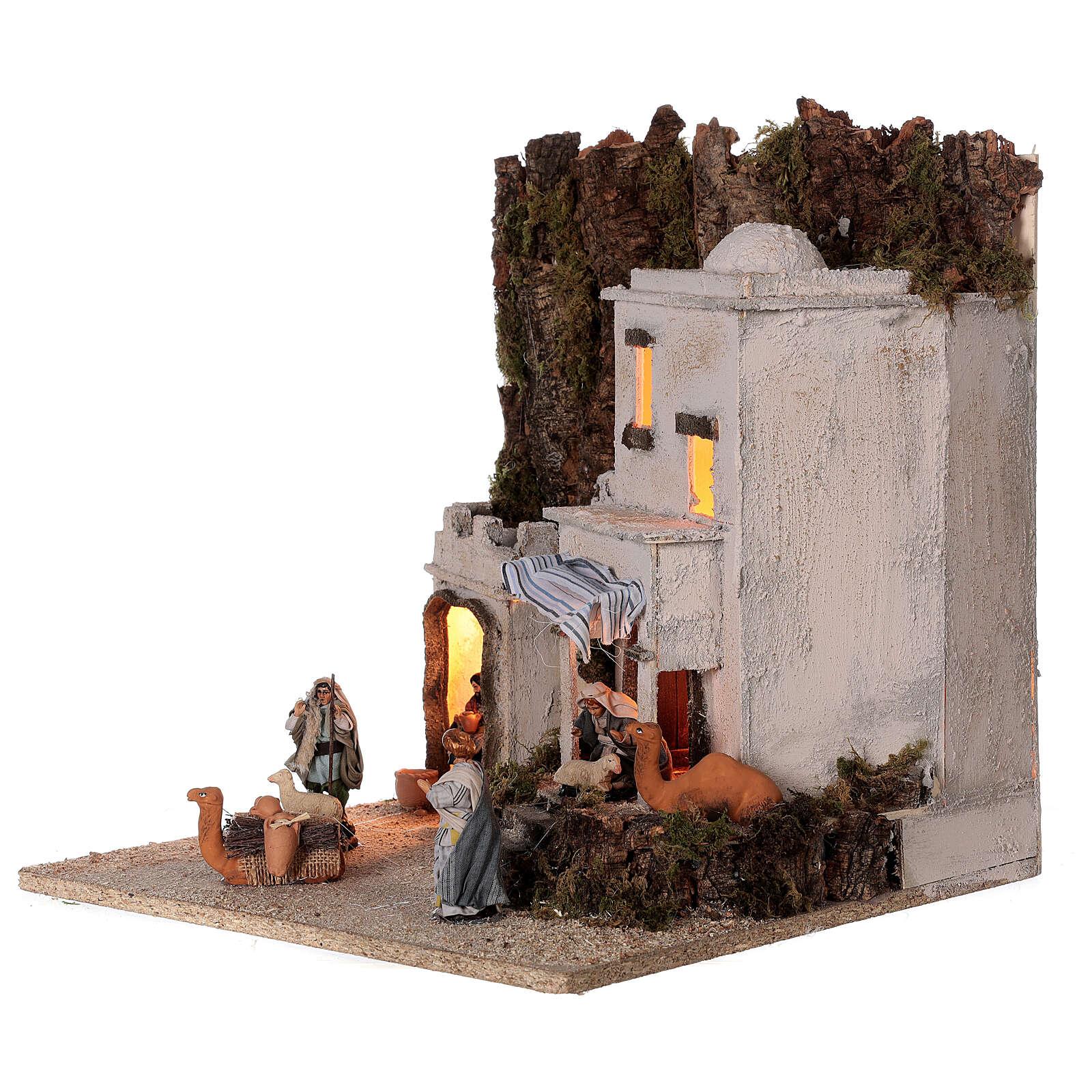 Arab village (F) terracotta figurines and animals 8 cm average height for Neapolitan Nativity Scene 35x35x35 cm 4