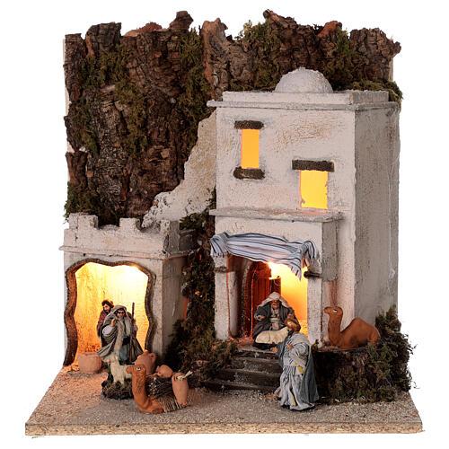 Arab village (F) terracotta figurines and animals 8 cm average height for Neapolitan Nativity Scene 35x35x35 cm 1