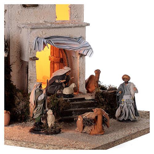Arab village (F) terracotta figurines and animals 8 cm average height for Neapolitan Nativity Scene 35x35x35 cm 2