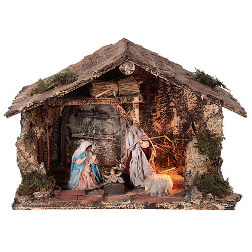 Holy Family stable for Neapolitan Nativity Scene with terracotta figurines of 10 cm high 20x30x20 cm 1