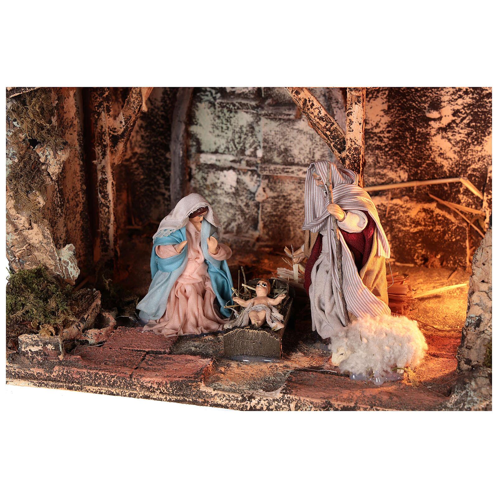 Cabana Sagrada Família presépio napolitano figuras terracota e tecido altura média 10 cm; medidas: 22x30x20 cm 4