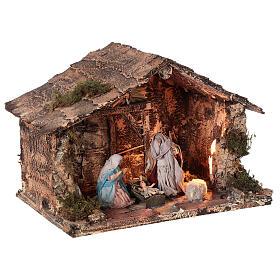 Cabana Sagrada Família presépio napolitano figuras terracota e tecido altura média 10 cm; medidas: 22x30x20 cm s4
