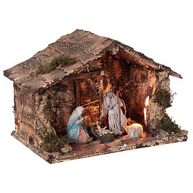 Holy Family stable for Neapolitan Nativity Scene with terracotta figurines of 10 cm high 20x30x20 cm s4