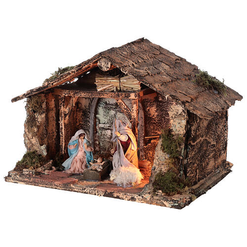 Holy Family stable for Neapolitan Nativity Scene with terracotta figurines of 10 cm high 20x30x20 cm 3