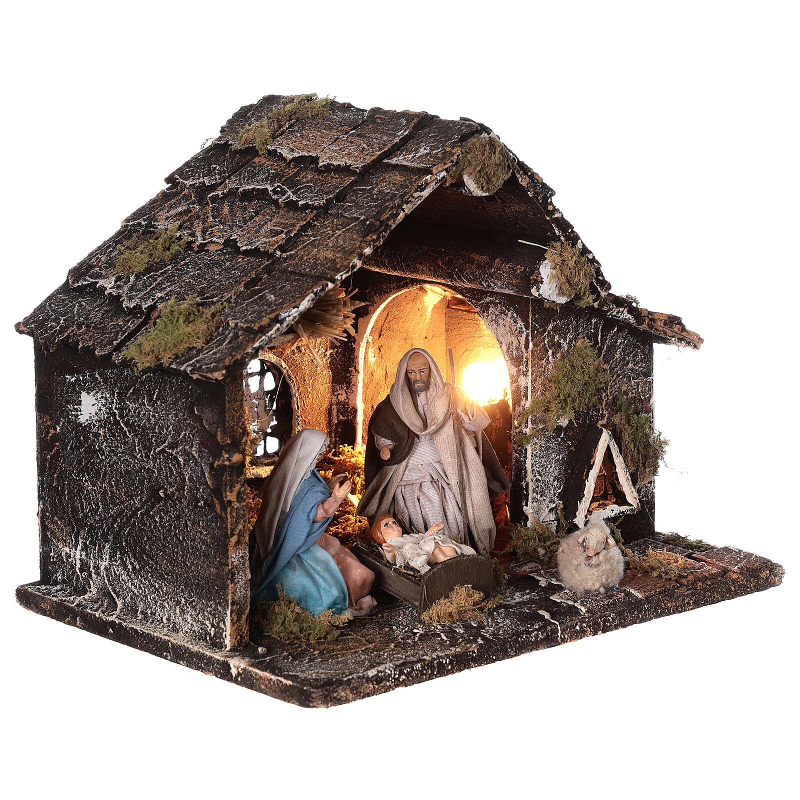 Cabana Natividade presépio napolitano figuras terracota altura média 12 cm; medidas: 25x31x20 cm 4