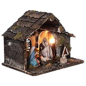 Cabana Natividade presépio napolitano figuras terracota altura média 12 cm; medidas: 25x31x20 cm s4