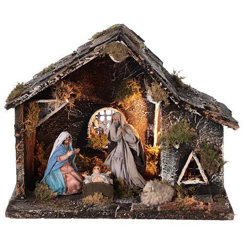 Cabana Natividade presépio napolitano figuras terracota altura média 12 cm; medidas: 25x31x20 cm 1