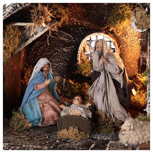 Cabana Natividade presépio napolitano figuras terracota altura média 12 cm; medidas: 25x31x20 cm 2