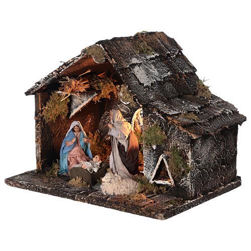 Cabana Natividade presépio napolitano figuras terracota altura média 12 cm; medidas: 25x31x20 cm 3