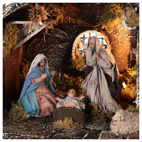 Stable for Neapolitan Nativity Scene with terracotta figurines of 12 cm high 25x30x20 cm 2