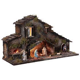 Cabane Nativité et bergers crèche napolitaine 6 cm lumières 25x50x20 cm s4