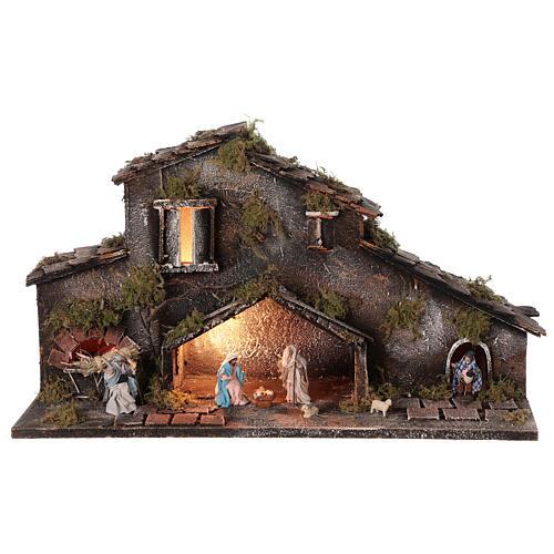Cabane Nativité et bergers crèche napolitaine 6 cm lumières 25x50x20 cm 1