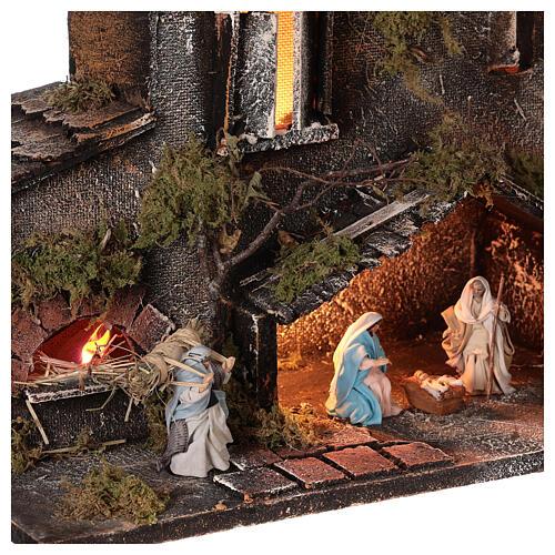 Cabane Nativité et bergers crèche napolitaine 6 cm lumières 25x50x20 cm 2