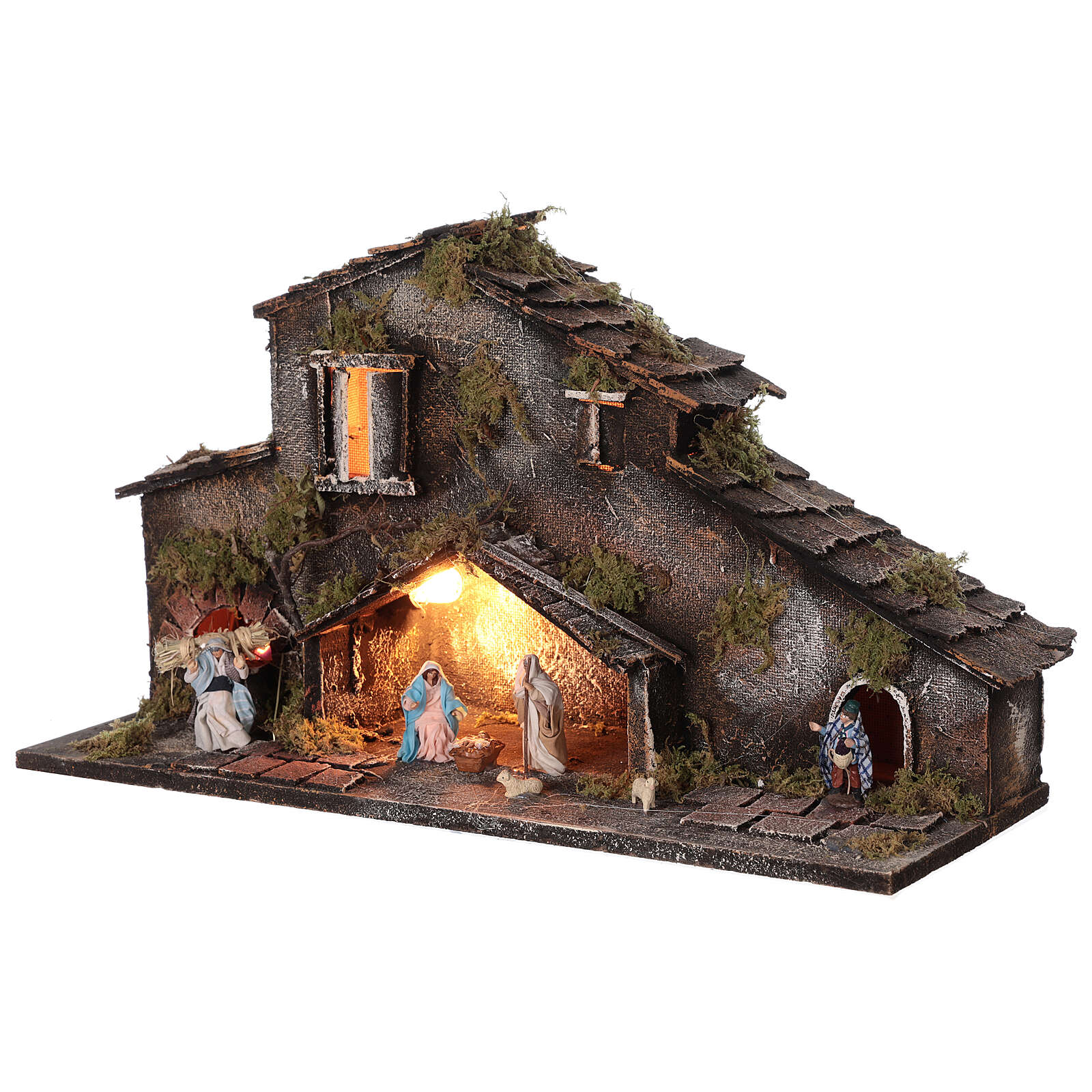 Stable Holy Family and shepherds for Neapolitan Nativity Scene with figurines of 6 cm high lights 25x50x20 cm 4