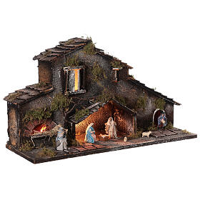 Stable Holy Family and shepherds for Neapolitan Nativity Scene with figurines of 6 cm high lights 25x50x20 cm s4