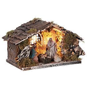 Stable with Nativity statue terracotta fabric 8 cm Neapolitan nativity 15x30x15 cm s3