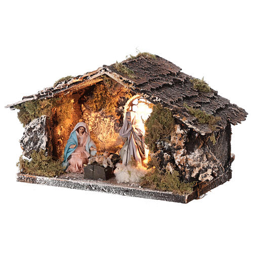 Stable with Nativity statue terracotta fabric 8 cm Neapolitan nativity 15x30x15 cm 2