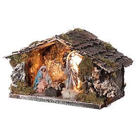 Stable with Nativity statue terracotta fabric 8 cm Neapolitan nativity 15x30x15 cm s2