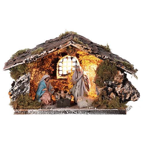 Stable with Nativity statue terracotta fabric 8 cm Neapolitan nativity 15x30x15 cm 1