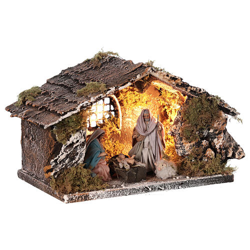 Stable with Nativity statue terracotta fabric 8 cm Neapolitan nativity 15x30x15 cm 3