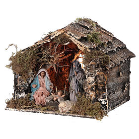 Nativity stable with Holy Family Neapolitan nativity 15x20x15 cm 8 cm terracotta statue s2