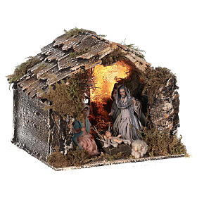 Nativity stable with Holy Family Neapolitan nativity 15x20x15 cm 8 cm terracotta statue s3