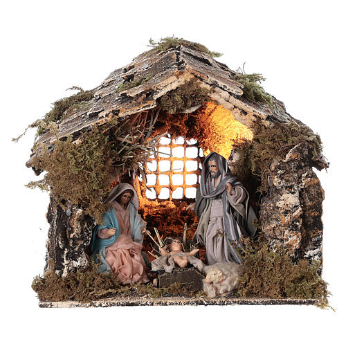 Nativity stable with Holy Family Neapolitan nativity 15x20x15 cm 8 cm terracotta statue 1