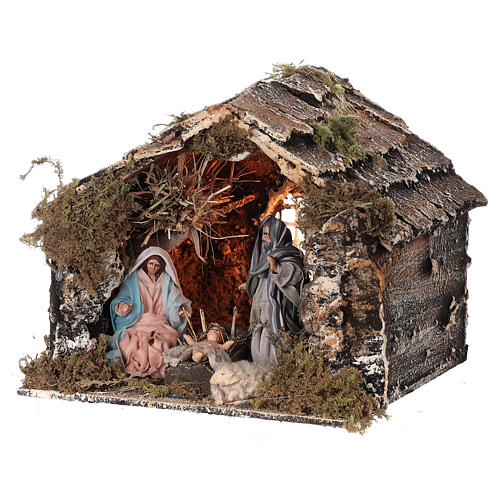 Nativity stable with Holy Family Neapolitan nativity 15x20x15 cm 8 cm terracotta statue 2
