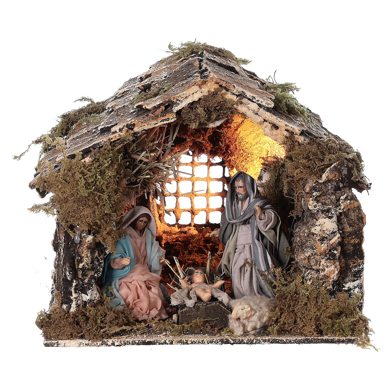 Nativity stable with Holy Family Neapolitan nativity 15x20x15 cm 8 cm terracotta statue 4