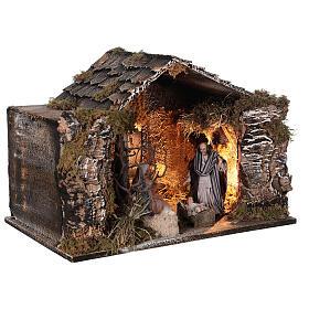 Cabane Nativité éclairée santons terre cuite 14 cm crèche napolitaine 30x40x30 cm s4