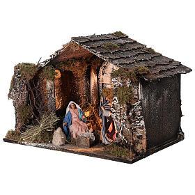 Capanna Natività illuminata statue terracotta 14 cm presepe napoletano 30x40x30 cm s3